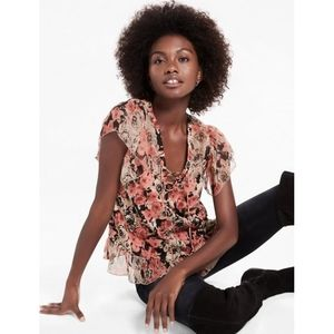 Lucky Brand rose printed ruffle top layered lace